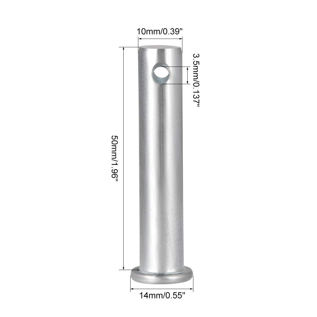 sourcing map pasadores de horquilla de un solo orificio 10mm x 90mm de cabeza plana de acero galvanizado 10 piezas
