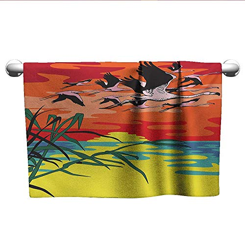 alisoso Flamingo,Pool Towels Flamingos Flying in The Air with Horizon Landscape Illustration Savannah Artwork Absorbent and Super Soft Towels Multicolor W 10