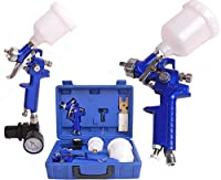 FCH Professional HVLP Gravity Feed Air Spray Gun Kit with 0.8mm & 1.4mm Nozzle for all Auto Paint, Primer, Topcoat & Touch-Up