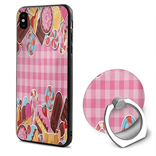 Ice Cream iPhone x Cases,Candy Cookie Sugar Lollipop Cake Ice Cream Girls Design Baby Pink Chestnut Brown Caramel,Mobile Phone Shell Ring Bracket