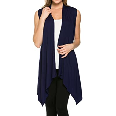 Azules Women's Solid Color Sleeveless Asymetric Hem Open Front Cardigan