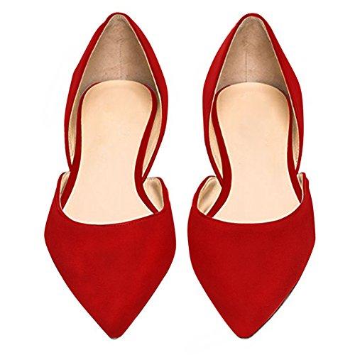 Damen Ballerinas Flats Samt Geschlossene Klassisch Flache Schuhe Rutsch Rot