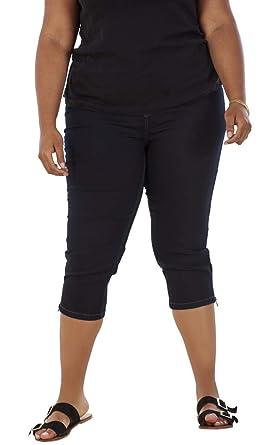 DC Jeans Pantalones Vaqueros Pirata para Mujer - con Bolsillos y Cremallera en el bajo - Tejido elástico - Tallas Grandes