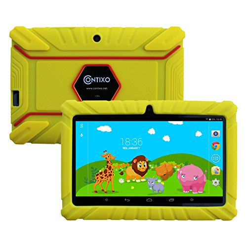 Contixo Kid Safe 7' HD Tablet WiFi 8GB Bluetooth, Free Games, Kids-Place Parental Control W/ Kid-Proof Case (Yellow) - Best Gift