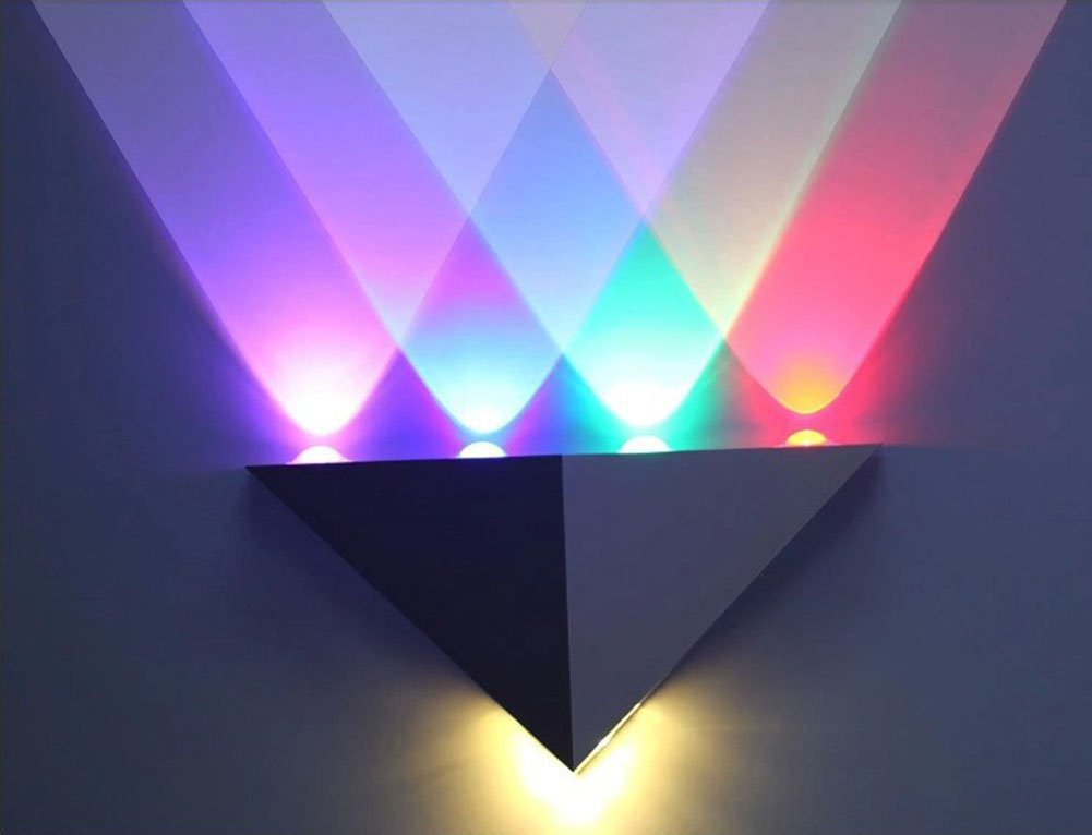 Ginamart 5W Triangle Sconce LED Up Down Decorative Fixture Hallway Spot Lamp Multi-colored Wall Light for Bedroom Theater Studio Restaurant Hotel