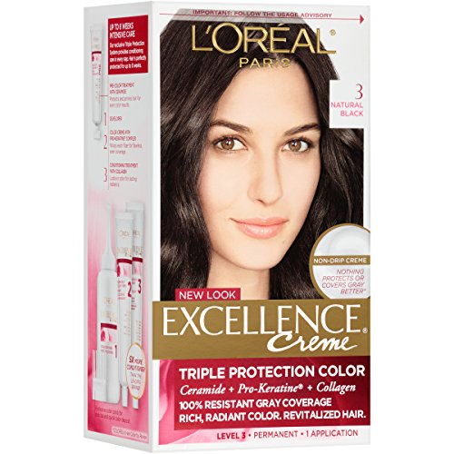 Paris Creme - L'Oréal Paris Excellence Créme Permanent Hair Color, 3 Natural Black