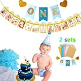 """(Set of 2 ) JeVenis Handmade Style Baby First Birthday Decorations Banner """" O N E """" and 1-12 Months Photo Rope Banner 1st Birthday Party Supply (Gold with Blue Flag)"""