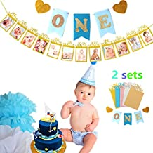 "(Set of 2 ) JeVenis Handmade Style Baby First Birthday Decorations Banner "" O N E "" and 1-12 Months Photo Rope Banner 1st Birthday Party Supply (Gold with Blue Flag)"