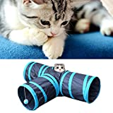 Kangkang@ Hoopet Foldable Y Shape 3 Ways Pet Tunnel Collapsible Pets Toy Tube with Ball for Cat Puppy Kitten Rabbits Dog Training Toys