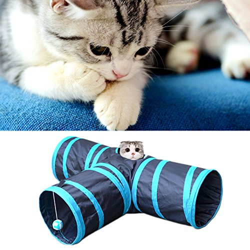 Kangkang@ Hoopet Foldable Y Shape 3 Ways Pet Tunnel Collapsible Pets Toy Tube with Ball for Cat Puppy Kitten Rabbits Dog Training Toys by Kangkang