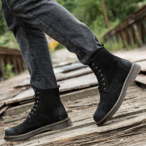 Antiscivolo Traspirante Uomo Camoscio Stivaletti Anfibi Martin Retro Stivali Fodera Lacci YuanDian Nero Boots Scarponcini Inverno nxXRwqYqg