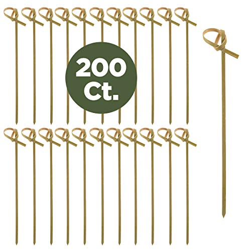 Prexware 200 Bamboo Knot Skewers, 4 Inch Knotted Skewers. Twisted Ends Bamboo Skewers Cocktail Picks. for $<!--$8.99-->