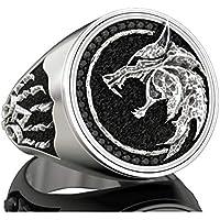 EZUY GNAY رجل ذئب خاتم مجوهرات الفولاذ المقاوم للصدأ خاتم الفايكينج ساحر المحارب هنتر ذئب رئيس خواتم هدية للرجال