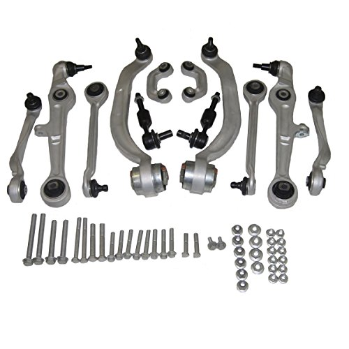 New 13 PCS Suspension and Steering Kit 4 Upper Control Arms With Ball Joints 4 Lower Control Arms With Ball Joints and Bushings 2 Sway Bar Links 2 Outer Tie Rod Ends and Installation Hardware