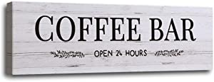 Coffee Bar Signs Docer with Grey Wood Grain, Canvas Coffee Wall Art Rustic Home Decor Coffee Bar Accessories Set for Home Bar Kitchen Living Room Pub Store Room Wall Decor 6