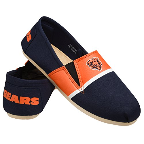 Forever Collectibles NFL Chicago Bears Men's Canvas Stripe Shoes, Medium (9-10), Blue