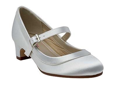656e4c020313 Miss Rainbow Kids Bridesmaids Bar Shoes Girls - Maisie - White Satin - UK  Size 1