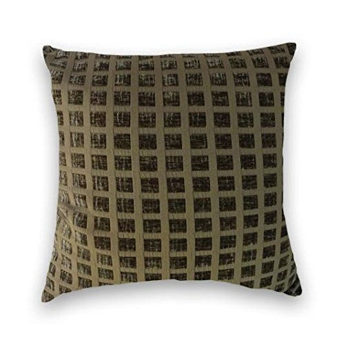Mink Brown Chenille Grid Pattern Decorative Throw Pillow Cov