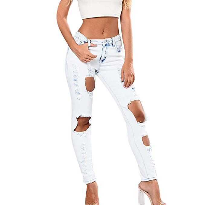 485ec59cb4 Kehen Women Stretch Ripped Distressed Skinny Jeans Juniors LIM Fit Denim  Pants at Amazon Women s Jeans store
