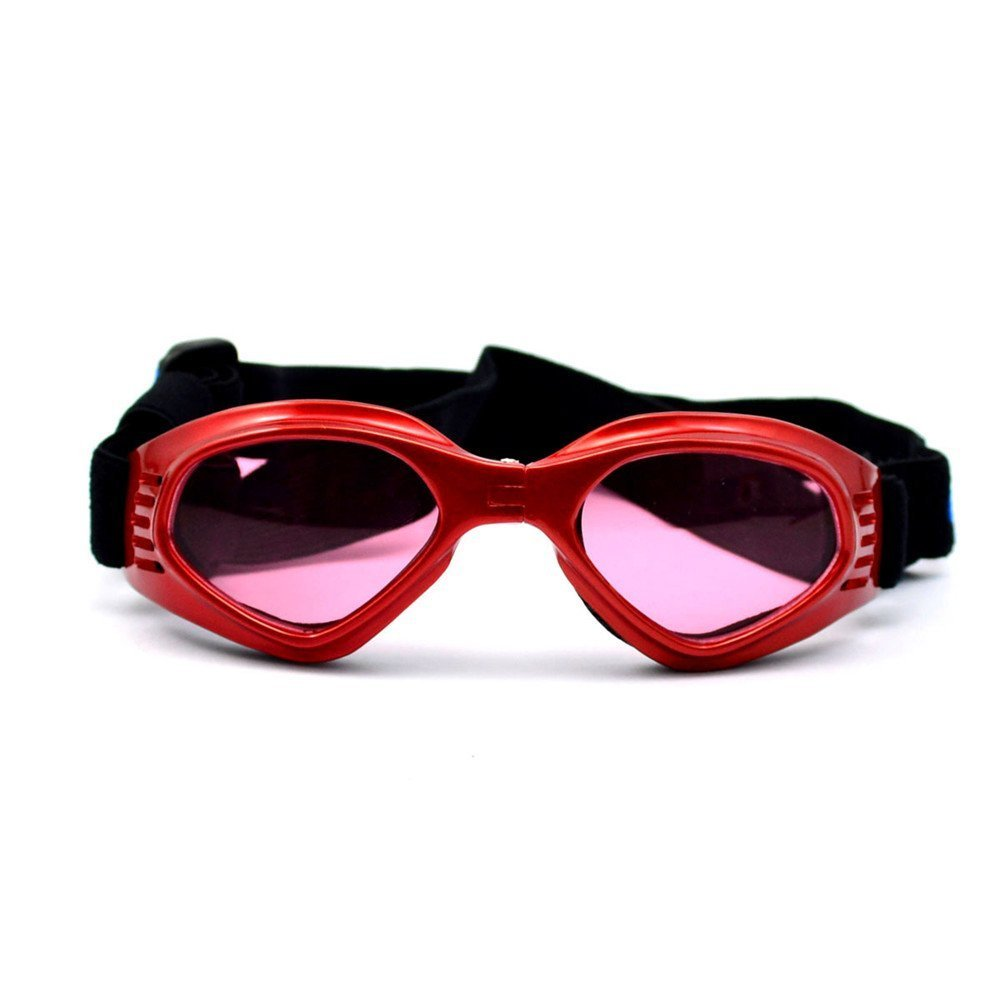 OxyPlay Dog Goggles Windproof Adorable Doggie Puppy Sunglasses for Small Dogs of Surfing, Motorcycle, Photograph … (Red) by OxyPlay (Image #1)