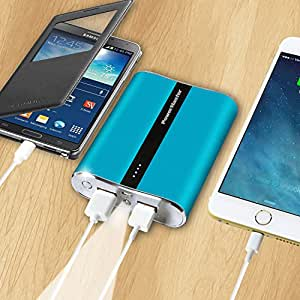 Power Master Portable Power Bank - 12000 mAh, Dual USB Charging Ports, Power Indicator, LED Flashlight, Charge Protection, suitable for iPhone, Samsung,(BLUE)