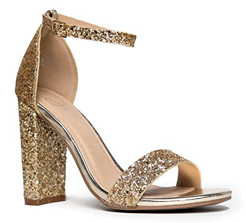 Strappy Chunky Block High Heel, Gold Glitter, 7.5 B(M) US