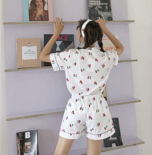 Piezas Mujeres Camisa Conjunto Ropa Dormir Cortos Manga Corta Pantalones Cobertura 3 De Pijama Pijamas Ahsxl L Cuello M Impresa q4waRP