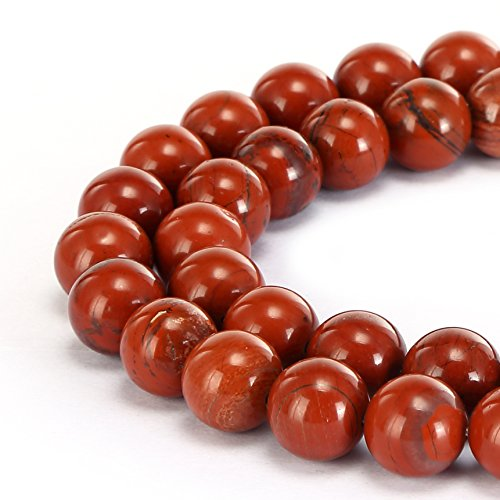 BRCbeads Gorgeous Natural Red Jasper Gemstone Smooth Round Loose Beads 8mm Approxi 15.5 inch 45pcs 1 Strand per Bag for Jewelry Making