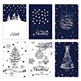 6Pack Merry Christmas Holiday Greeting Card - Xmas Money and Gift Card Holder Cards in 6 Cute Snowflake Designs, Assorted Winter Holiday Cards Set with Envelopes Included, 5.9X3.94