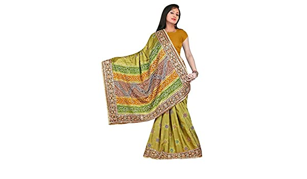 b10ca8aa4c703 Amazon.com  Kala Sanskruti Indian Traditional Latest New Collection  Designer Stylish Fashionable Ethnic Gaji Silk Bandhani Saree With Blouse ...