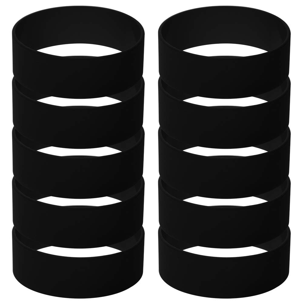 GOGO Silicone Wristbands 1 Inch Wide Blank Rubber Bracelets Punk Style Perfect for Concert-Black-6 Packs