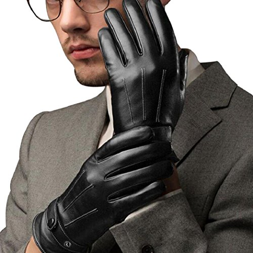 Shineweb Men Fashion Winter Faux Leather Motorcycle Full Finger Warm Gloves