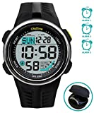 Sports Digital watch Water Resistant 164FT 50M Swimming 60 Lap 3 Alarm Stopwatch Dual Time Black Resin Men's Womenl's Boy's Girls 442