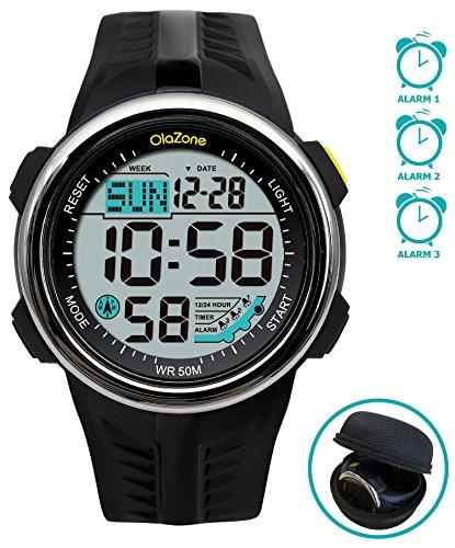 Digital Sports Watch Water Resistant 60 Lap 3 Alarm Stopwatch Dual Time Black Men's (Digital Mens Sport Watches)