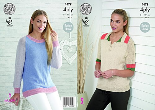King Cole Ladies Raglan Sleeve Sweaters Bamboo Cotton Knitting Pattern 4479 4 Ply (Raglan Bamboo)