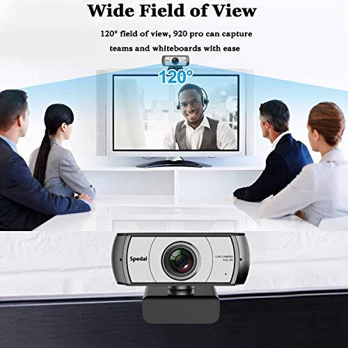 Cámara Web Gran Angular 120 Grados Spedal Webcam 1080P Full HD con Micrófono Estéreo USB Webcam para PC Video Chat y…