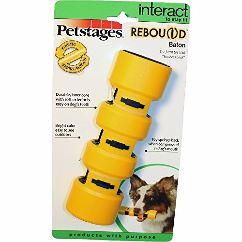 Rebound Bounce Back Baton Interactive Dog Toy Yellow Large