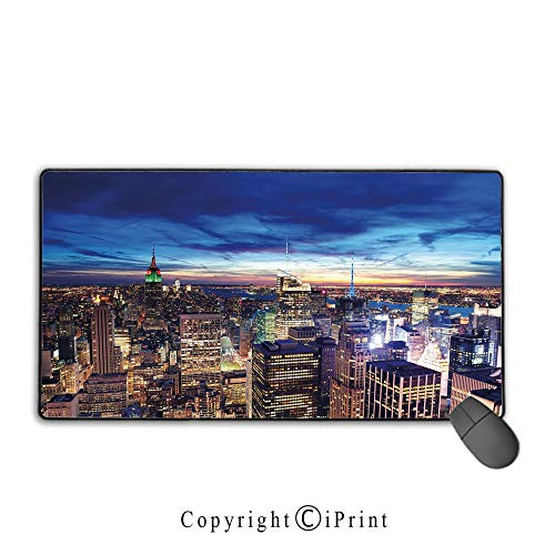 Game Speed Version Medium Cloth Mouse pad,City,Empire State and Skyscrapers of Midtown Manhattan New York Aerial View at Dusk,Tan Navy Blue Aqua,Ideal for Desk Cover, Computer Keyboard, PC and -