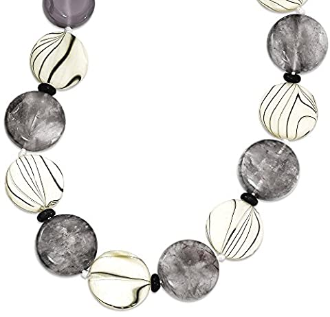 IceCarats 925 Sterling Silver Black Grey Agate/mop/sardonyx Chain Necklace Natural Stone - Grey Agate Stone