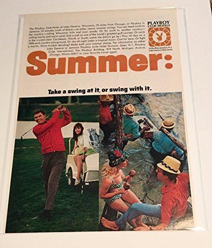 1968 Lake Geneva & Jamaica Playboy Club Hotels Summer Magazine Print Advertisement