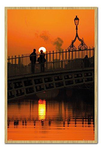 Dublin Ireland Halfpenny Bridge Sunset Poster Cork Pin Memo Board Beech Framed - 96.5 x 66 cms (Approx 38 x 26 inches) -