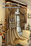 TIYANA European Curtains Delicate Embroidery Curtains Brown Cloth Curtains Grommet Top Luxurious Royal Style Window Panels Anti-Noise Ring Window Treatment for Living Room, 1 Panel, W95 x L96 inch