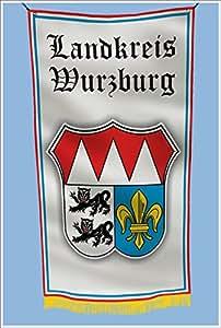 Landkreis Wurzburg Alemania escudo de armas Hangar de garaje sótano bandera 3x 5pies
