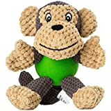 EETOYS Plush Squeaky Dog Toys with Durable Chew Rubber Ball Body for Small Dogs Puppy Teething (Monkey)