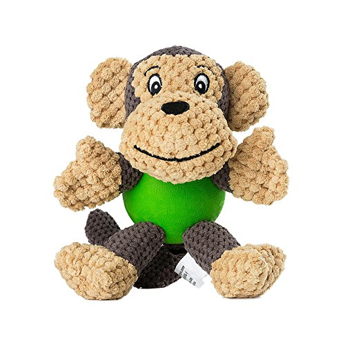 EETOYS Plush Squeaky Dog Toys with Durable Chew Rubber Ball Body for Small Dogs Puppy Teething (Monkey) ()