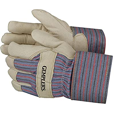 Gempler'S Insulated Pigskin Leather Palm Work Gloves With Safety Cuff, Gunn Cut And Striped Canvas Back, 1 Pair