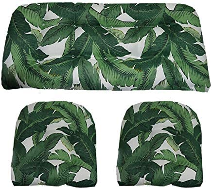 RSH D cor Indoor Outdoor Decorative 3 Piece Love Seat Settee 2 Chair Wicker Cushion Sets Made with Tommy Bahama Fabric Large 2-21 x21 44 x22 , Swaying Palms