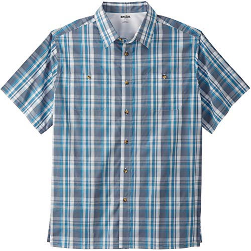 (KingSize Men's Big & Tall Short-Sleeve Plaid Sport Shirt, Slate Blue)