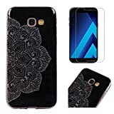 For Samsung Galaxy A5 2017 A520 Case with Screen Protector,OYIME Glitter Bling Design Ultra Thin Slim Fit Protective Back Cover Soft Silicone Rubber Shell Drop Protection Anti-Scratch Transparent Bumper and Screen Protector (Lotus)