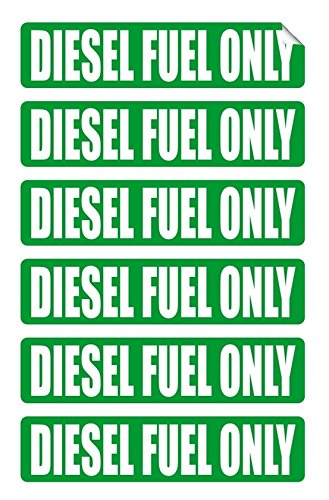 "Price comparison product image 6-Pcs Perfect Popular Diesel Fuel Only Car Sticker Signs Oil Label Window Decal Gas Helmet Size 3 / 4"" x 3-1 / 4"" Color Green and White"